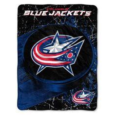 Columbus Blue Jackets Blanket 46x60 Raschel Ice Dash Design #ColumbusBlueJackets