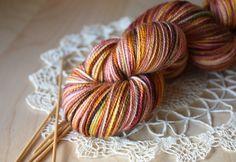 Hand Dyed Sock Yarn / Gold Burgundy Moss Merino Rose Wool Nylon / Fingering Weight