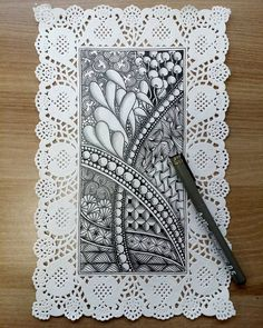 Love this idea of zen tangles on a paper doily!!