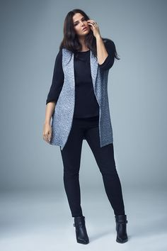 Make a sleeveless blazer the focus of an outfit by wearing it over all-black. Or all any colour. #newlook #fashion