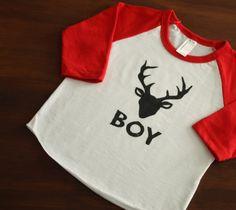 Baby Boy Buck Printed AMERICAN APPAREL Baseball Tshirt by DearCub, $17.00