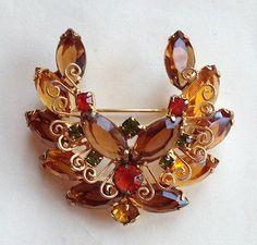 Verified Juliana D E Wreath Topaz Amber Scroll Work Brooch Book Piece | eBay