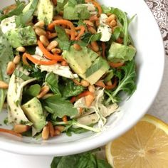 Hearty Arugula Salad w/ Lemon Basil Dressing - gluten free, grain free, PALEO