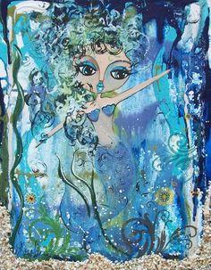 Blue MERMAID painting print of Original by by LoralaiOriginalArt, $13.99