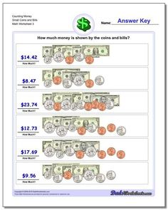 These counting money worksheets are appropriate for first grade students learning how to add up various coins and bills. These and thousands of other printable PDF math worksheets are free to download and print without registration or signup on the site. Making Change Worksheets, Counting Money Worksheets, Free Printable Math Worksheets, Worksheets For Kids, Printables, Counting Coins, Basic Math, Free Math, Math Facts