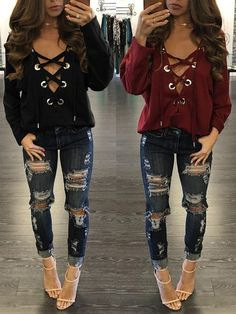 Fashion Lace-up Loose Blouses chicme.com Online. Discover hottest trend fashion at chicme.com
