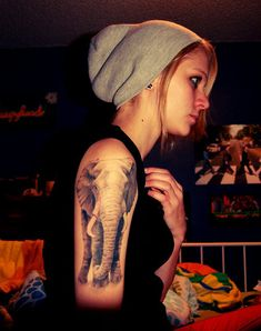 39 Half sleeve elephant tattoo for girl