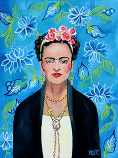 Thank You Frida by PRINT - Frida Kahlo, mexican art, day of the dead, blue pink white black, Frida Kahlo art Diego Rivera, Frida And Diego, Frida Art, Portraits, Mexican Folk Art, Blue Moon, Mexico City, Art Day, Original Paintings