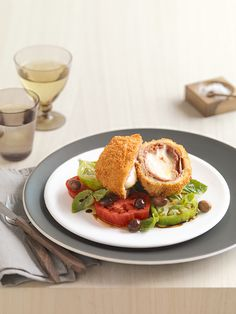 crumbed mozzarella with tomato and basil salad #recipe