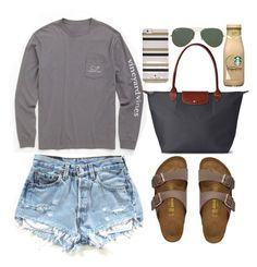 """Untitled #65"" by valerienwashington ❤ liked on Polyvore featuring Birkenstock, Vineyard Vines, Longchamp, Ray-Ban, Kate Spade, women's clothing, women's fashion, women, female and woman"