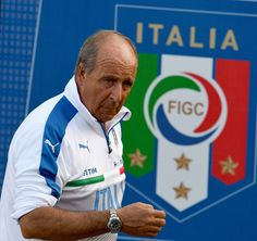 Head coach Giampiero Ventura looks on during a training session at the club's training ground at Coverciano on October 3, 2016 in Florence, Italy.