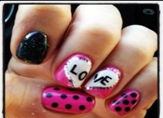 I wanna do this to my nails but I don't have the colors or sparkles or jewels or any of that :(