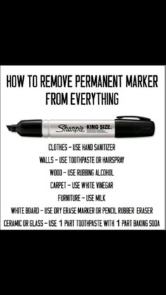 Funny pictures about How To Remove Permanent Marker. Oh, and cool pics about How To Remove Permanent Marker. Also, How To Remove Permanent Marker photos. Household Cleaning Tips, House Cleaning Tips, Diy Cleaning Products, Cleaning Solutions, Cleaning Hacks, Deep Cleaning, Cleaning Supplies, How To Remove Sharpie, Remove Permanent Marker