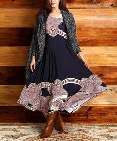 Navy & Red Cloud Handkerchief Dress #zulily #zulilyfinds