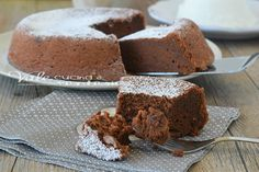 Torta al cioccolato 3 ingredienti Ww Desserts, Chocolate Recipes, Ricotta, Banana Bread, Deserts, Muffin, Pudding, Cooking, Sweet