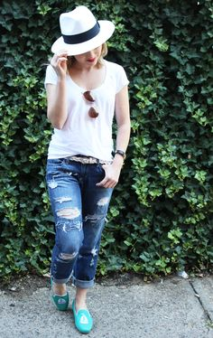 Poor Little It Girl in Island Company White T-Shirt, Paige Denim Boyfriend Jeans and Seychelles Boat Slippers