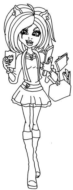 A Coloring Page Of Clawdeen In Her New Scaremester Clothes From Monster High