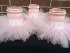 It's a GIRL Baby Shower Centerpiece~Set of 3 Pink Mason Jars~Pink Tutu~Gender Reveal Party~Shabby Chic Baby Shower~Pink Chevron~White Pearls