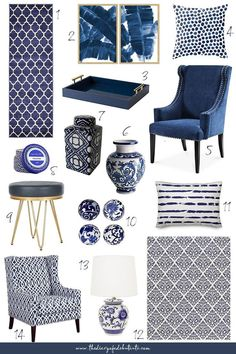 Affordable Home Decor: Blue and White Home Accessories for Spring Need affordable home decor ideas for spring? From blue and white rugs to blue porcelain vases and ginger jars, Stephanie from the affordable fashion a. Blue And White Rug, Blue And White Living Room, White Rugs, Blue Living Room Decor, Winter Home Decor, Blue Home Decor, White Decor, Affordable Home Decor, Affordable Fashion