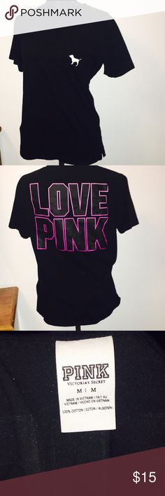 Victoria secret logo print pink shirt Never worn! Logo print PINK shirt. Flawless! PINK Victoria's Secret Tops Tees - Short Sleeve