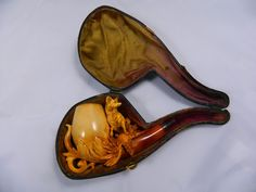 Antique Handcarved Meerschaum Pipe w/ Fitted Case-Pipe2 from countrysidetrading on Ruby Lane