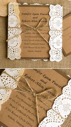 2015 trending Kraft paper lace and burlap chic rustic wedding invitations