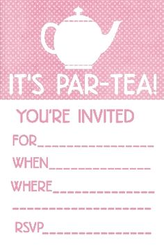 Tea Party Invitation And Envelope  Or Just A Pretty Card Free