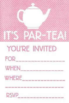 Free Printable Tea Party Invitation | Communication | Pinterest ...