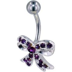 Purple bow belly button ring!
