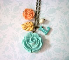 Big Rose and Charms Initial Necklace by Palomaria on Etsy, $36.00