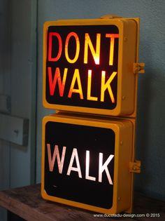 New York feu dont walk americain vintage USA jaune d'origine