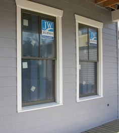 Dark painted sashes with light trim.   Our Exterior Paint Colors - Cedar Hill Farmhouse