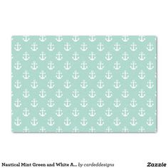 "Nautical Mint Green and White Anchor Pattern 10"" X 15"" Tissue Paper"