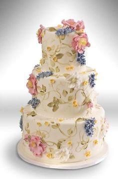 Torta nuziale, molto romantico e primaverile   ver pretty pastel and romantic hand-painted wedding cake