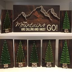 The Mountains Are Calling! String art trees! Mountain Crafts, Mountain Art, Wood Crafts, Crafts To Do, Diy String Art, String Crafts, Nail String, Creative Christmas Trees, Xmas Trees