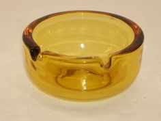 Retro Amber Glass Ashtray Simple Round Style Heavy Weight Vintage 1970's