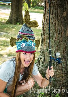 Free knitted pattern for this Dead Fish Hat!  LOVE IT!  Dead Things Come To Those That Wait   Link to pattern is on the right.  This is my project page with my project notes.