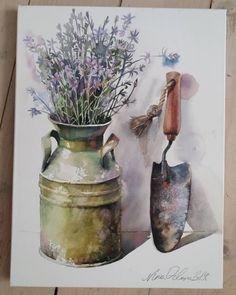watercolor by Nina Orlova Watercolor Projects, Watercolour Painting, Watercolor Flowers, Watercolors, Watercolor Ideas, Lavendar Painting, Smoke Art, Still Life Art, Happy Art