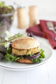 Rezepte Burger - vegetarischer Burger mit Kichererbsen und Spinat   Recipe veggie: Spinach and Chickpea Burger