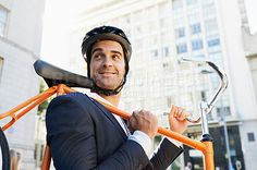 A businessman traveling by bicycle - stock photo #442746