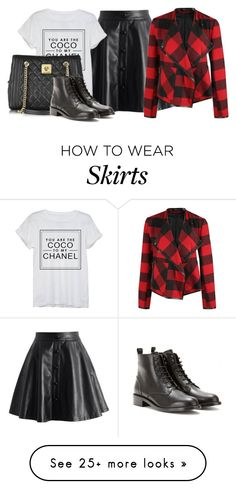 """Leather Skirt"" by laurynmarton on Polyvore featuring Chicwish, Chanel, Dex, Moschino and Yves Saint Laurent"