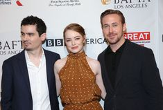 Ryan Gosling Photos Photos - (L-R) Director Damien Chazelle, actors Emma Stone and Ryan Gosling attend The BAFTA Tea Party at Four Seasons Hotel Los Angeles at Beverly Hills on January 7, 2017 in Los Angeles, California. - The BAFTA Tea Party - Arrivals