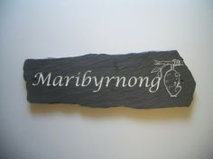 Made from recycled Welsh slate, engraved and painted with enamel paint. House Name Signs, House Names, Home Signs, Name Board Design, Name Plate Design, Cottage Names, Name Plates For Home, Wood Fireplace Mantel, House Plaques
