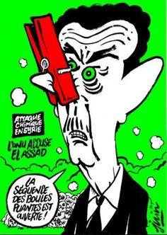 Charlie Hebdo высмеял химическую атаку Башара Асада на Идлиб http://actualnews.org/exclusive/160553-charlie-hebdo-vysmeyal-himicheskuyu-ataku-bashara-asada-na-idlib.html  Издание Charlie Hebdo, выпускаемое во Франции, опубликовало на обложке очередного выпуска карикатуру с Башаром Асадом, высмеяв химическую атаку на Идлиб. Информация опубликована порталом «Лайф».