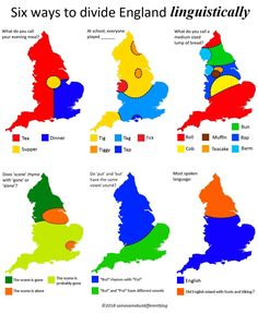 6 Ways to Divide England Linguistically Firstly, it's important to point out that all maps represent an average. There is no region of England where everyone agrees, and sometimes it can vary from town to town, and even family to family. Growing Up British, British Memes, Languages Online, British Things, British Accent, English Language, Fun Facts, Divider, Funny Memes