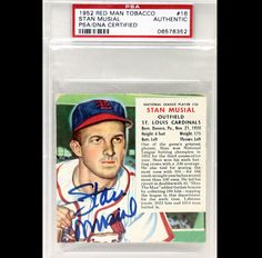 Stan Musial 1952 Red Man Tobacco PSADNA Signed Autographed Authentic 06578352 | eBay #stanmusial #musial #1952 #redman #tobacco #signedcard #autograph #authentic