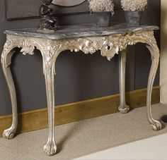 #Console #baroque #style #silver leaf gilding, grey #marble top. 18th century. For sale on Proantic by Remy Motte.