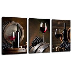 Sea Charm – 3 Piece Canvas Wall Art Red Wine Painting for Wall Decor Grape Pictures Stretched and Framed Vintage Living Room Kitchen Decorations Theme Sets Wine Wall Art, Kitchen Wall Art, Room Kitchen, Wine Wall Decor, Artwork Prints, Wall Prints, Canvas Prints, Frames For Canvas Paintings, Oil Paintings