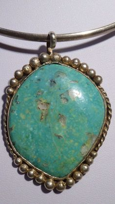 Navajo Turquoise Pendant Native American Large Sterling Silver Singed PC WOW #PC
