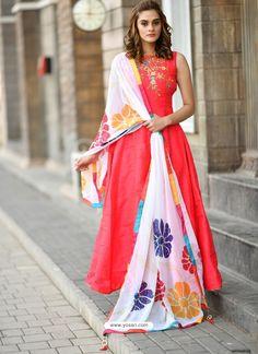 3f57c9355cb Dark Peach Silk Hand Worked Designer Gown Suit